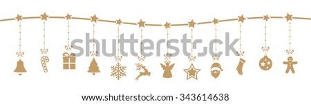 christmas decoration elements hanging isolated background Royalty-Free Stock Photo #343614638