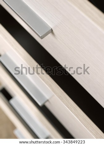 Detail of wooden drawers #343849223
