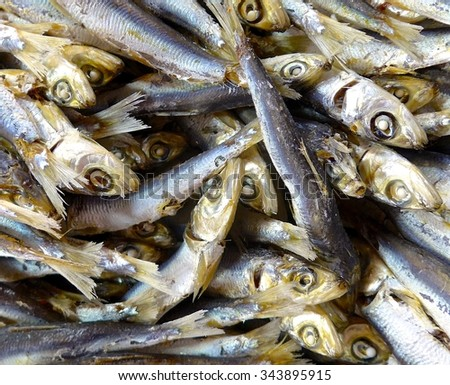 Dry fish closeup in the market #343895915