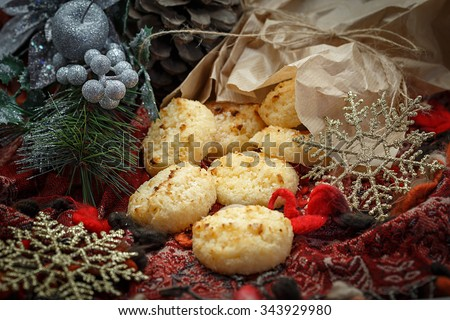 Coconut macaroons with christmas decoration #343929980