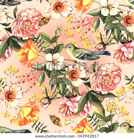 Watercolor vintage seamless with delicate flowers and birds. Seamless pattern can be used for textile, wallpaper, wrapping paper, web design.