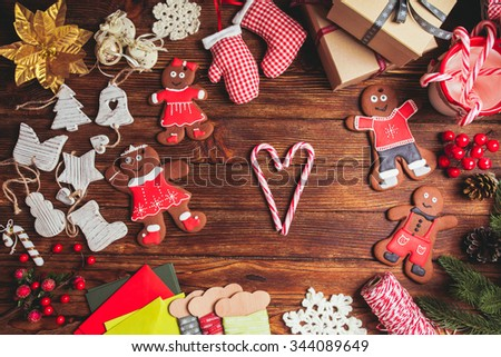 Preparation for Christmas on the wooden table, copy space #344089649