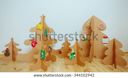 Christmas Tree Made Of Cardboard. Unique Trees. New Year #344102942