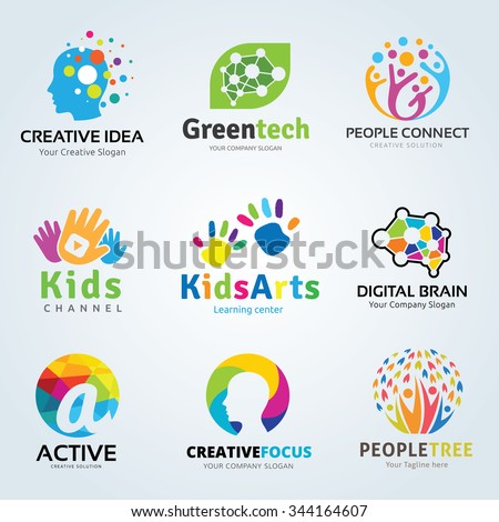 Logo set Kids arts and creative brain idea symbols collection for family, Ecology, Green technology, People colorful icons, vector brand identity concept. #344164607