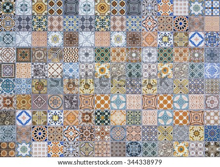ceramic tiles patterns from Portugal. #344338979
