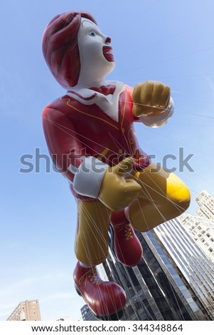 New York, NY USA - November 26, 2015: Giant Ronald McDonald balloon flown at the 89th Annual Macy's Thanksgiving Day Parade on Columbus Circle #344348864
