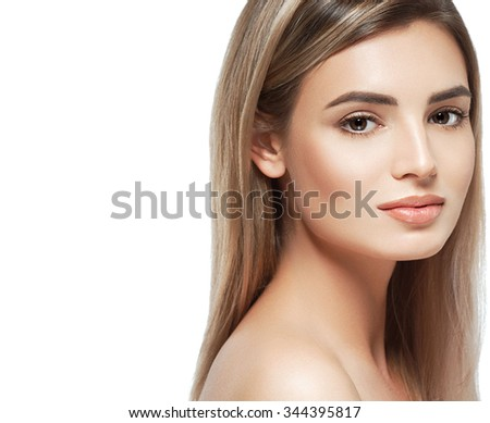 Blonde woman beauty portrait face looking camera isolated on white  #344395817