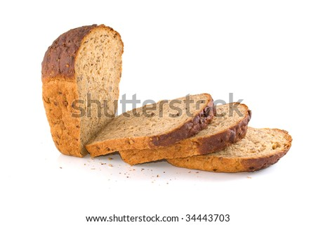 Slices of bread with seeds of sunflower and sesame. White background. #34443703