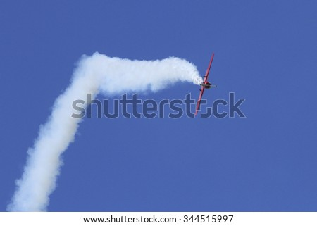 Airplanes On Airshow. Aerobatic team performs flight at air show #344515997