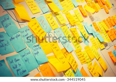 whiteboard post-it colored notes Royalty-Free Stock Photo #344519045