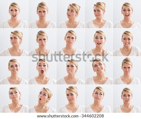 Collage of young woman with various expressions over white background Royalty-Free Stock Photo #344602208