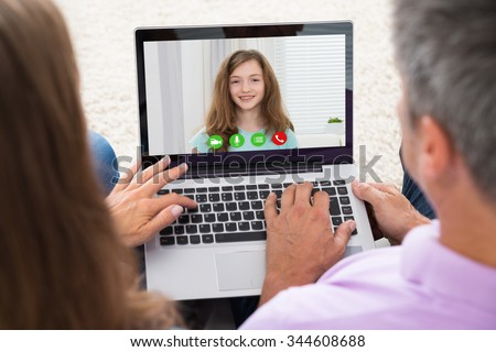 Close-up Of Mature Couple Video Chatting On Laptop #344608688