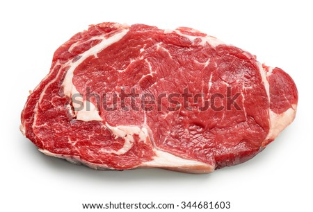 fresh raw beef steak isolated on white background, top view Royalty-Free Stock Photo #344681603