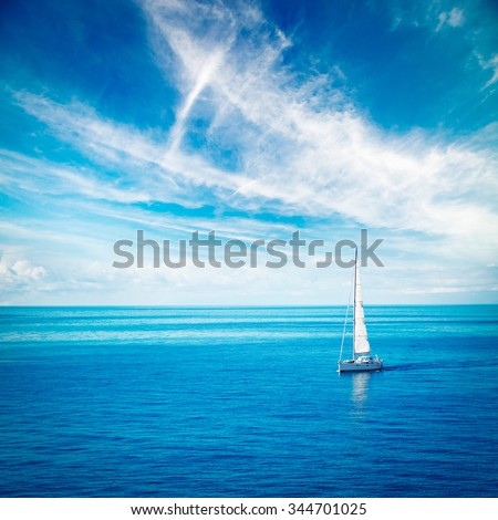 Beautiful Seascape with White Yacht Sailing in Blue Sea. Square Photo with Copy Space. #344701025