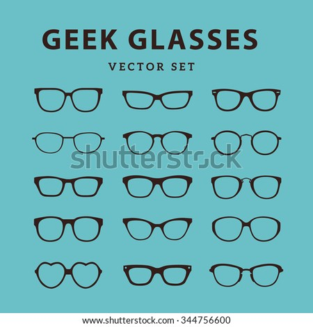 Geek Glasses Vector Icons Set