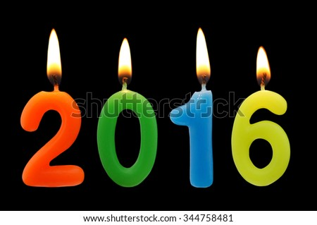 Burning candles on black background, number 2016, new year concept