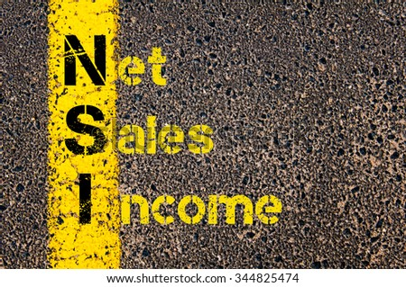 Concept image of Business Acronym NSI Net Sales Income written over road marking yellow paint line. #344825474