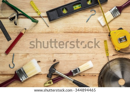 Carpenter tools on wood board, Use for as background #344894465