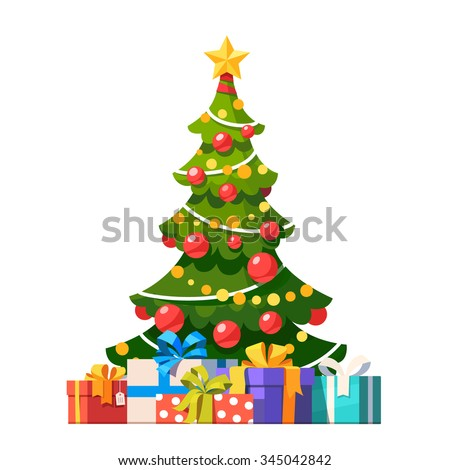 Star, decoration balls and light bulb chain decorated christmas tree with lots of gift boxes. Flat style vector illustration isolated on white background.