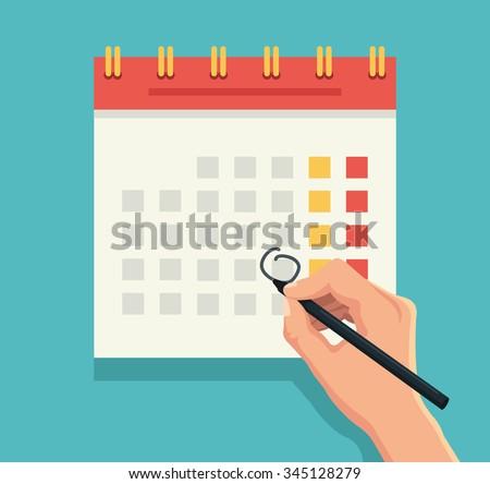 Hand with pen mark calendar. Vector flat illustration Royalty-Free Stock Photo #345128279