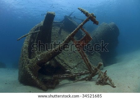 A wreck of a ship lying on the seabed #34521685
