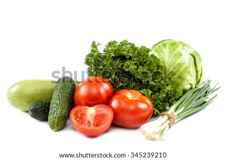 Fresh vegetables isolated on a white background. #345239210