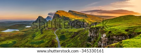 Panorama of  Quiraing mountains sunset at Isle of Skye, Scottish highlands, United Kingdom #345330161