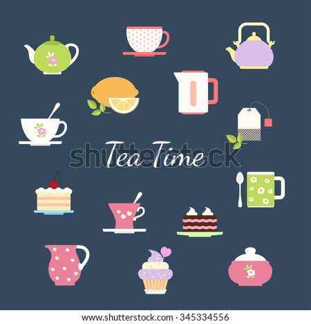 Tea flat design icons set with tea cup lemon kettle pastries