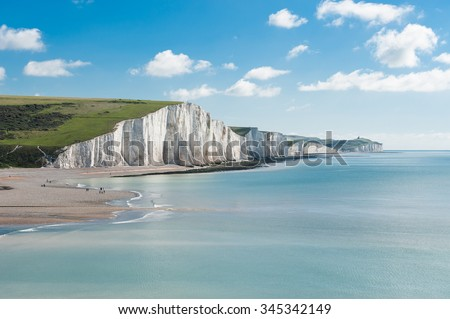 Seven Sisters National park, white cliffs, East Sussex, England Royalty-Free Stock Photo #345342149