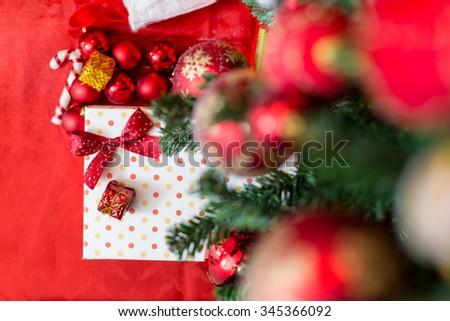 Christmas decoration on tree, candle, joy, christmas time #345366092
