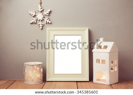 Poster mock up template for Christmas holiday with candles