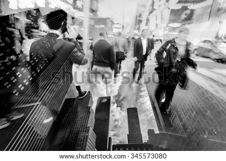 double exposure picture of business people walking in the city and skyscrapers of New York City