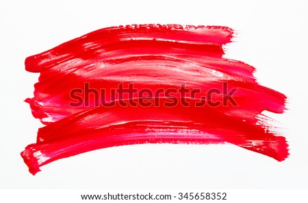 Paint brush stroke texture red watercolor isolated on a white background #345658352