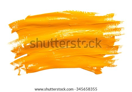 Paint brush stroke texture ochre watercolor isolated on a white background Royalty-Free Stock Photo #345658355