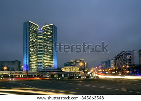 Moscow, Russia,  View of the government building of Moscow on Novy Arbat street. #345663548