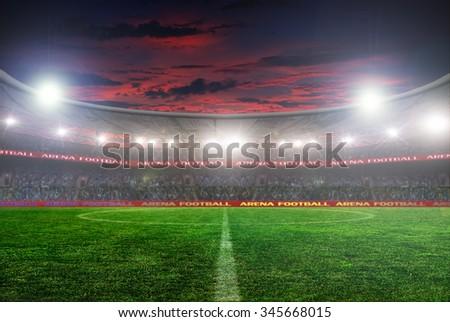 football stadium before the game. night lighting #345668015