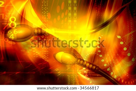 Digital illustration of  sperm  in colour  background  #34566817