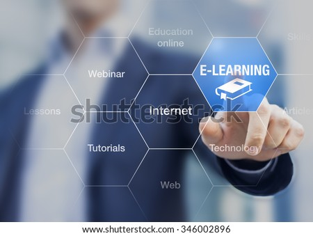 E-learning concept with a teacher presenting online education program #346002896
