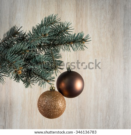 Composition with Christmas tree and Christmas decoration balls, cones, beads. #346136783