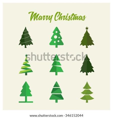 Merry christmas tree Card, Vector illustration minimal flat design #346152044