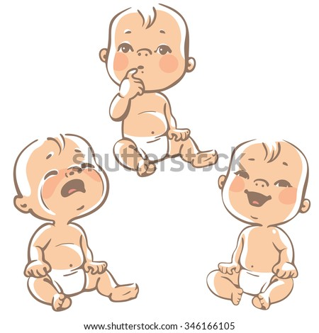 Set of baby emotion icons. Cartoon little babies 6-12 months, in diapers, sitting, laughing, crying, curious baby. Sad, happy, thoughtful kid. Sketchy style.  Colorful vector  illustration isolated.