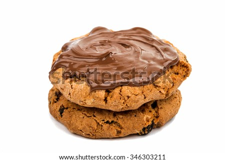 cookies with chocolate on a white background #346303211