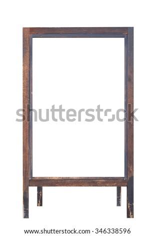 Blank wood storefront chalkboard label isolated on white background