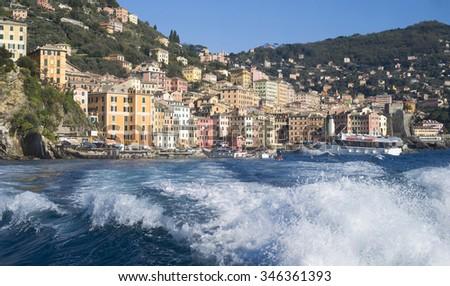 View of Camogli from the sea, Liguria, Italy #346361393
