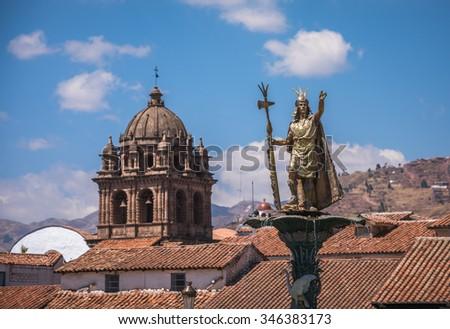 Inca Pachacutec fountain in the Plaza de Armas of Cusco, Peru #346383173