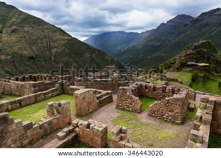 View of Inca Ruins near the town of Pisac in the Sacred Valley, Peru #346443020