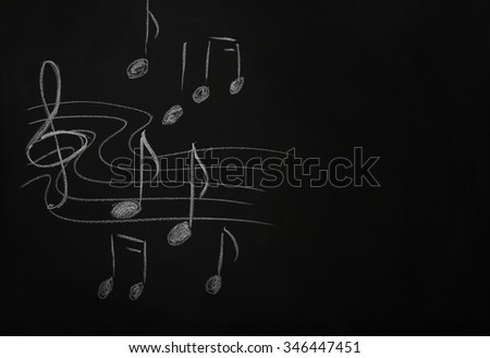 A blackboard with musical notes on the wall in the classroom
