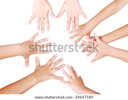 Group of several pairs of children hands #34647589