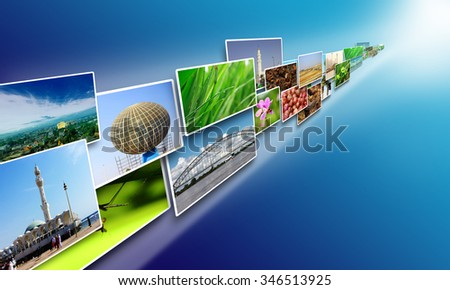 Internet concept, Images stream on internet sharing media over blue background