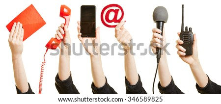 Many hands showing different ways of communication like mail, phone or internet Royalty-Free Stock Photo #346589825